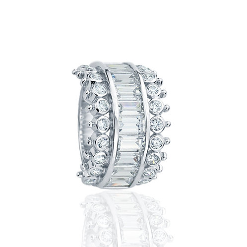 Sterling Silver Baguette CZ Channel Queens Crown Anniversary Ring for Women