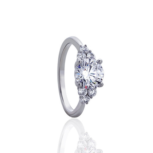 Sterling Silver Rhodium Plated Round CZ Engagement Ring for Women