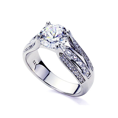 Platinum Plated Sterling Silver CZ, Diamond Simulant Engagement Ring for Women