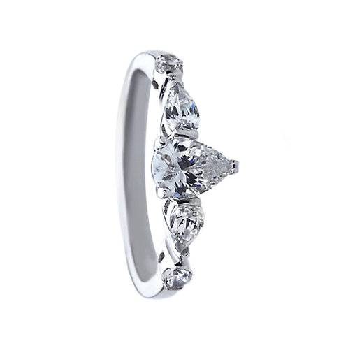 Platinum Plated Silver Pear CZ Three Stone Wedding Engagement Ring for Women