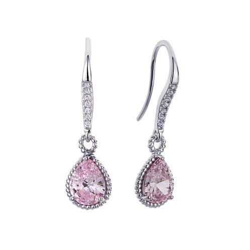 Platinum Plated Silver Pear Cut Super Light Pink CZ Prong Set Dangle Earrings