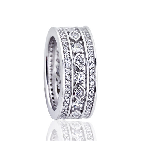 Platinum Plated Silver CZ Wedding Engagement Band Eternity Ring Set for Women