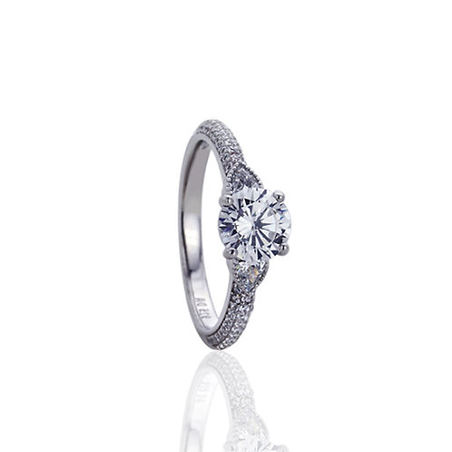 Sterling Silver Rhodium Plated Vintage Solitaire Engagement Ring for Women