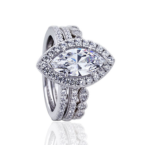 Platinum Plated Sterling Silver Marquise CZ Stone Bridal Ring Set for Women