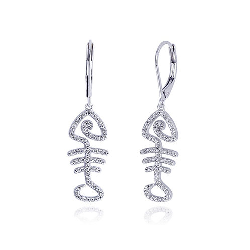 Platinum Plated Silver Round CZ Pave Set Fish Bone Dangle Earrings for Women