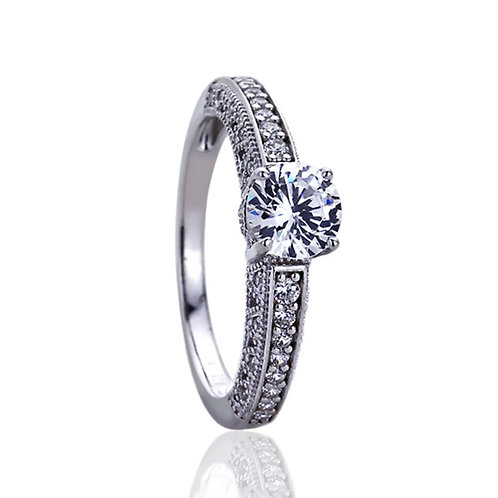 Silver Rhodium Plated Stunning Vintage Solitaire Engagement Ring for Women