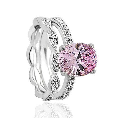 Platinum Plated Silver Wedding CZ Diamond Simulant Light Pink Bridal Ring Set