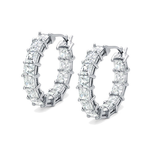 Rhodium Plated Sterling Silver Princess CZ, In and Out Hoop Earrings for Women