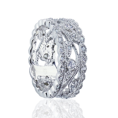Simulated Diamond Ring, Silver Wedding Ring, Vintage Ring Band for Women