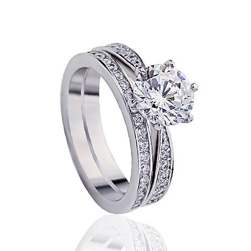 Platinum Plated Vintage Silver Engagement Ring, CZ Matching Bridal Set for Women