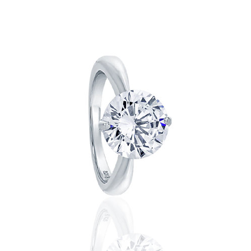Sterling Silver Modern 2 Prong Round CZ Solitaire Engagement Ring for Women