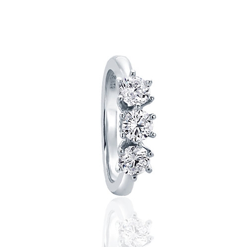 Sterling Silver Wedding Ring CZ Prong Three Stone Anniversary Band for Women