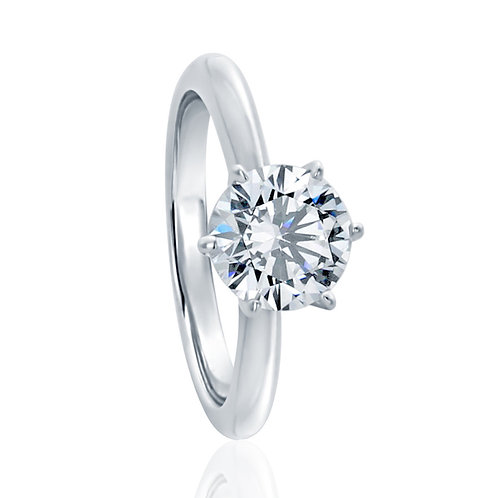 7.5MM Sterling Silver 1.5 carat Diamond simulant Ring 6 prong Classic Solitaire