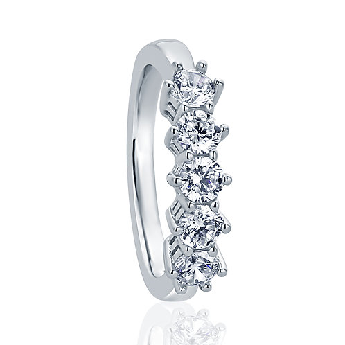 Stackable Wedding Sterling Silver Ring, Round Five Stone 0.8 Carat for Women