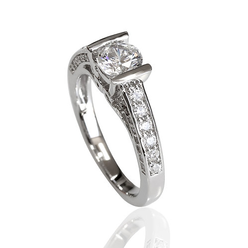 Sterling Silver Diamond Simulant Rhodium Plated, Engagement Vintage Style Ring