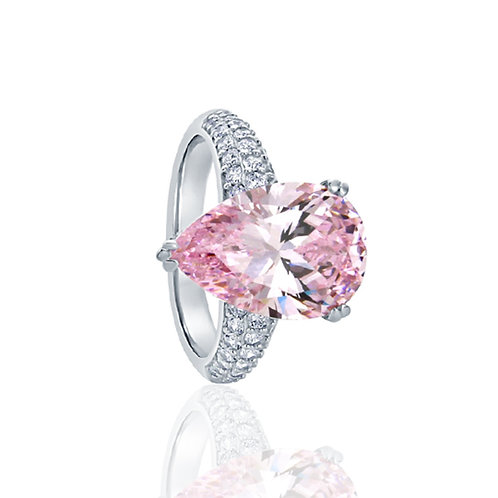 Sterling Silver Pear Cut Super Light Pink CZ Cocktail Ring for Women