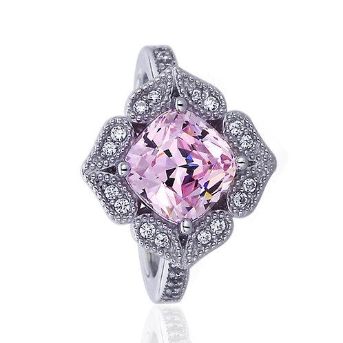 Platinum Plated Sterling Silver Cushion CZ Milgrain Pink Diamond Simulant Ring