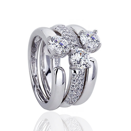 Platinum Plated Silver CZ Wedding Engagement Bridal Ring Set for Women