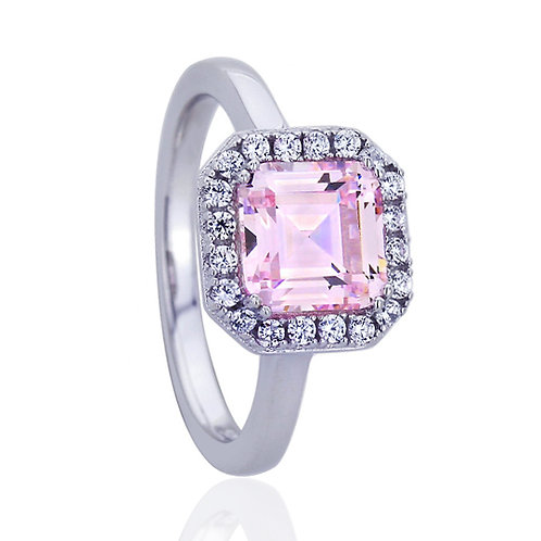 Platinum Plated Sterling Silver Square Pink CZ Wedding Engagement Ring for Women