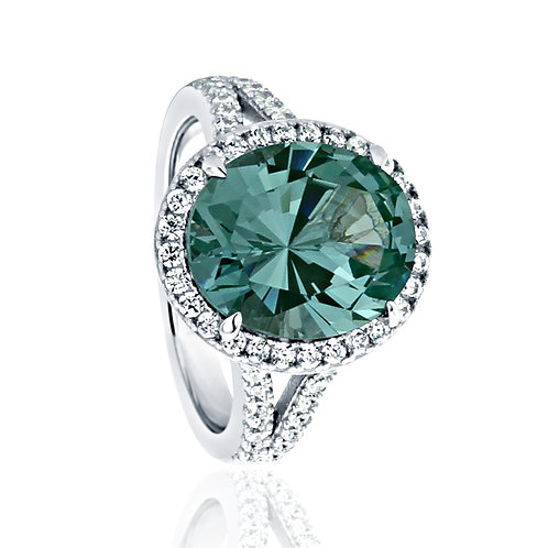 Sterling Silver Simulated Green Oval Topaz CZ Halo Cocktail Ring for Women