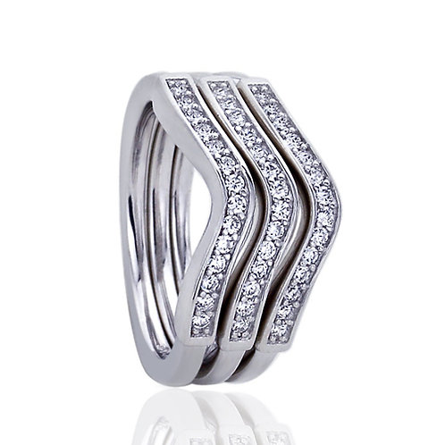 Platinum Plated Silver CZ Wavy Stackable Wedding Ring for Women