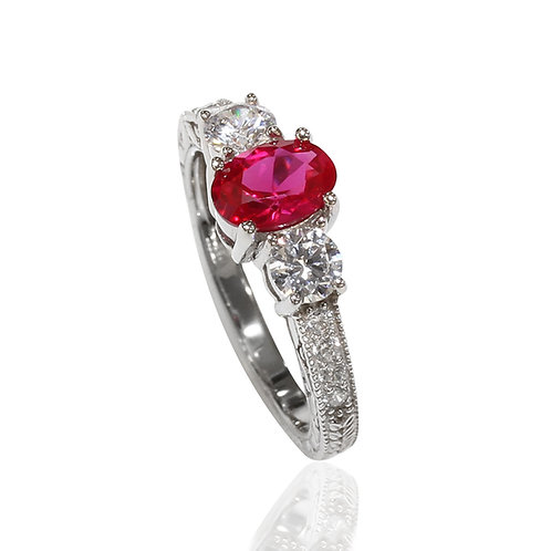 Simulated Ruby Wedding Ring, Silver Three Stone Oval Shape Ring for Women