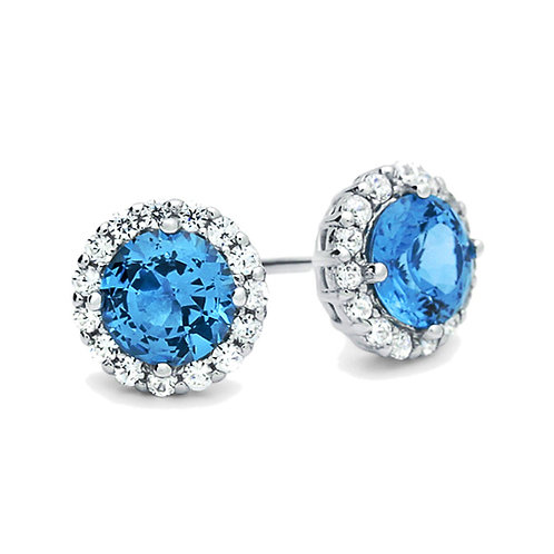 Sterling Silver Round Simulated Blue Topaz CZ, Halo Stud Earrings for Women