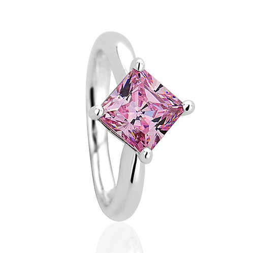 Platinum Plated Silver Princess Super Light Pink CZ Engagement Ring for Women