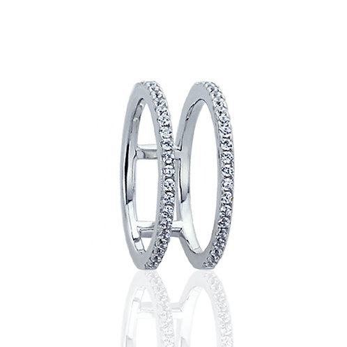 Sterling Silver Round CZ Pave Set 8 mm Two Row Knuckle Ring Band