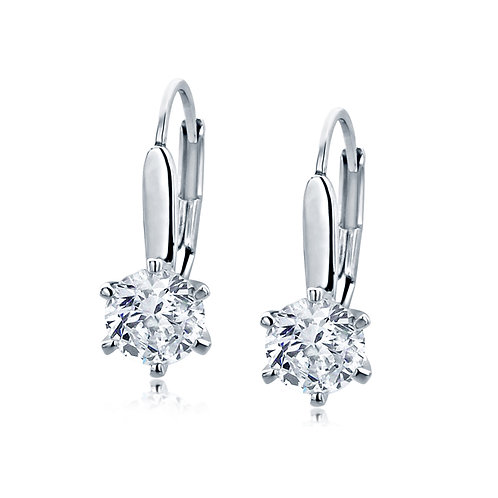 Rhodium Plated Silver, CZ 6 Prong Set Basket Solitaire Drop Earring for Women