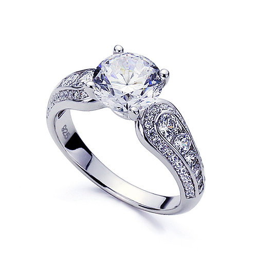 Simulated Diamond Engagement Ring, Platinum Plated Silver Wedding Ring