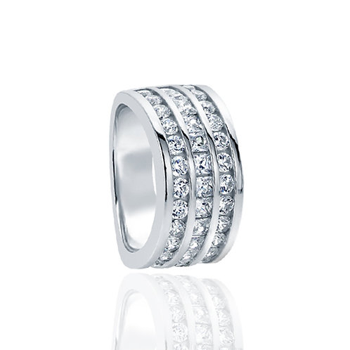 Sterling Silver Princess CZ Three Row Channel Wedding Ring Set for Women
