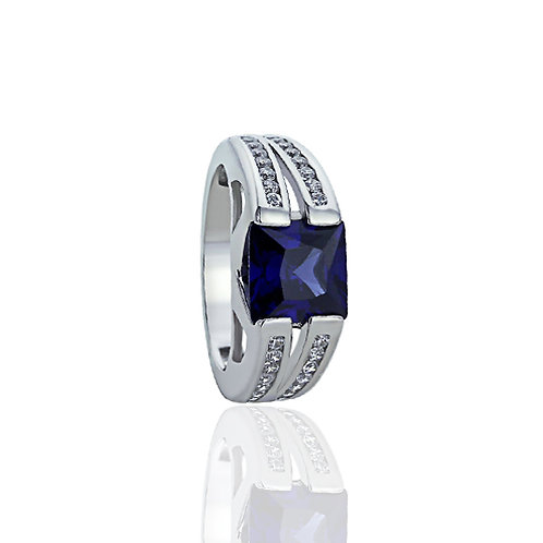 Sterling Silver Simulated Flat top Square Blue Sapphire CZ Ring for Women