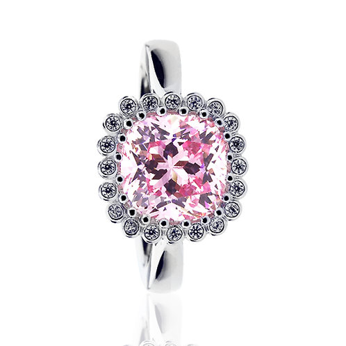 Platinum Plated Silver Cushion Pink CZ Wedding Engagement Ring Set for Women