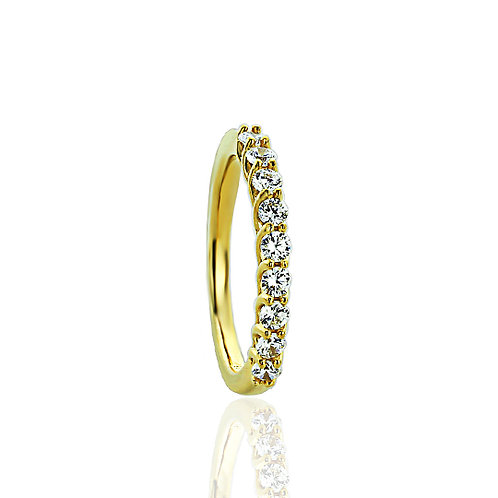 Sterling Silver 14K Gold Plated CZ Nine Stone Wedding Anniversary Band for Women