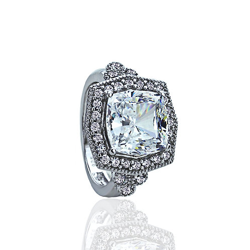 Sterling Silver Hexagon Special Montreux Cut Stone Vintage CZ Ring for Women