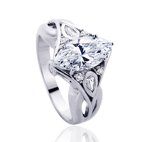 Silver Marquise CZ Stone 2CT Vintage Inspired Royal Design Diamond Simulant Ring