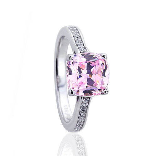 Platinum Plated Simulated Pink Cushion Cut CZ Stone Wedding Ring for Women
