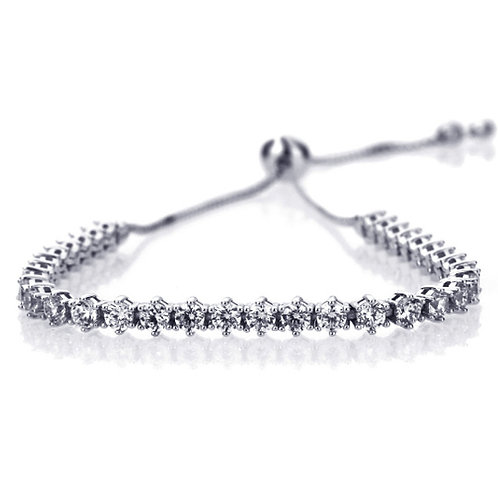 Sterling Silver Adjustable Tennis Bracelet, 6 Prong 3 mm Round Stone for Women