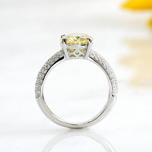 Platinum Plated Sterling Silver Simulate Yellow Diamond CZ Stone Engagement Ring