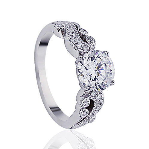 Platinum Plated Sterling Silver, CZ Vintage Wedding Engagement Ring for Women
