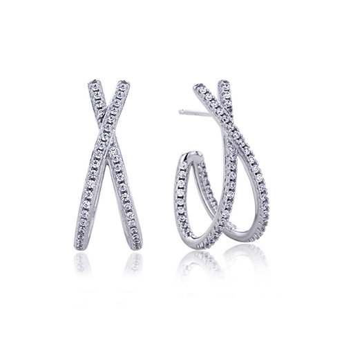 Platinum Plated Silver Round CZ Pave Set X Design Stud Earrings for Women