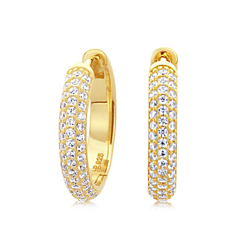 14k Yellow Gold Plated Silver CZ Pave Set Domed Hoop Earrings for Women