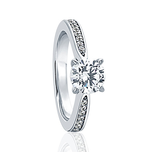 Silver Wedding Diamond Simulant Ring, Round CZ Solitaire Pave Set for Women