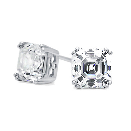 Rhodium Plated Silver Asscher Cut CZ Basket Solitaire Stud Earrings for Women