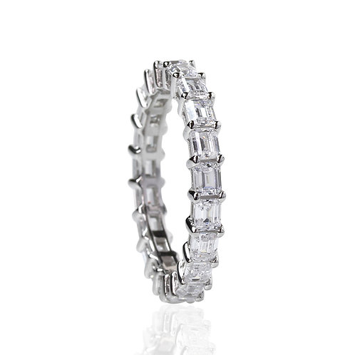 Emerald Cut Sterling Silver East West Eternity Wedding Ring for Women