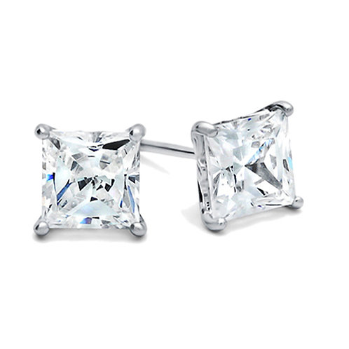 Rhodium Plated Sterling Silver 2.5 Carat Princess CZ Stud Earrings for Women