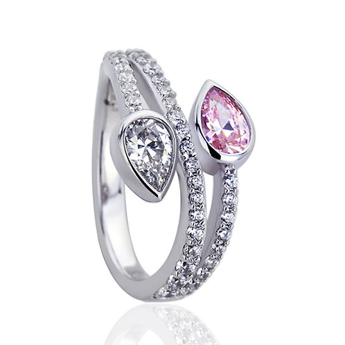 Platinum Plated Silver Pear Pink CZ Wedding Engagement Ring Set for Women