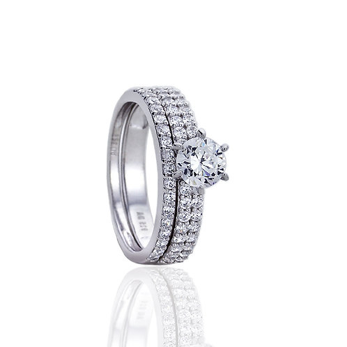 Silver Rhodium Plated CZ Pave Wedding Engagement Bridal Ring Set for Women