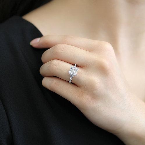 Diamond Simulant Engagement Ring Women, Platinum Asscher Cut Silver Wedding Ring